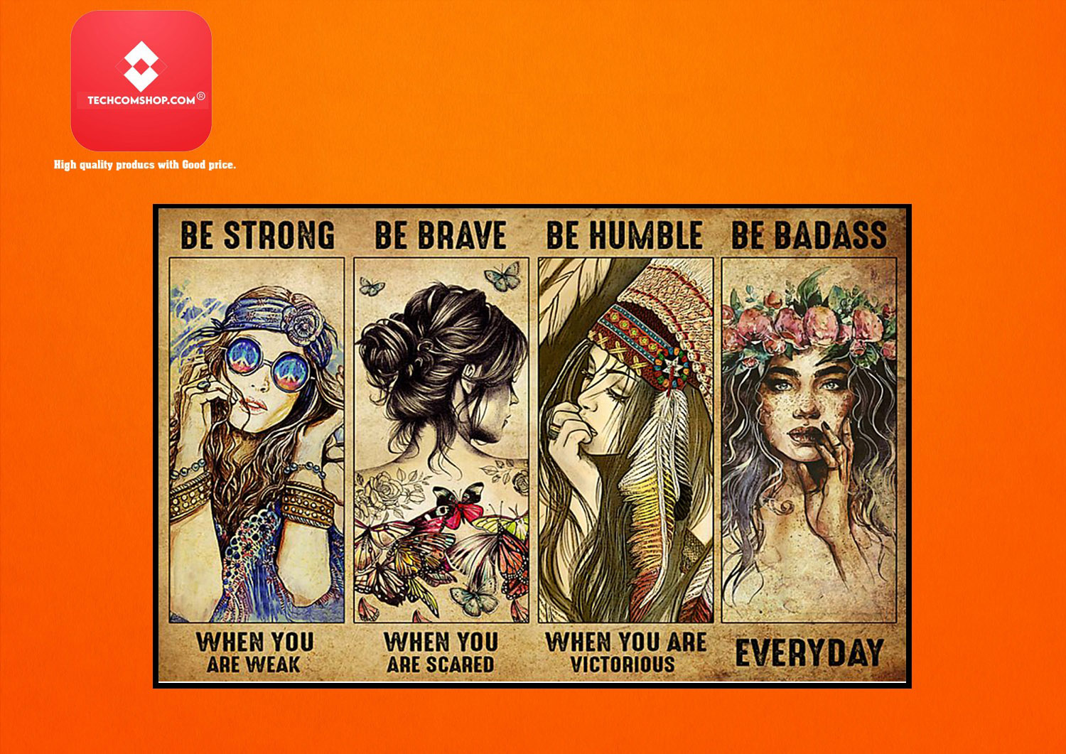 Girl Hippie be strong be brave be humble be badass poster 8