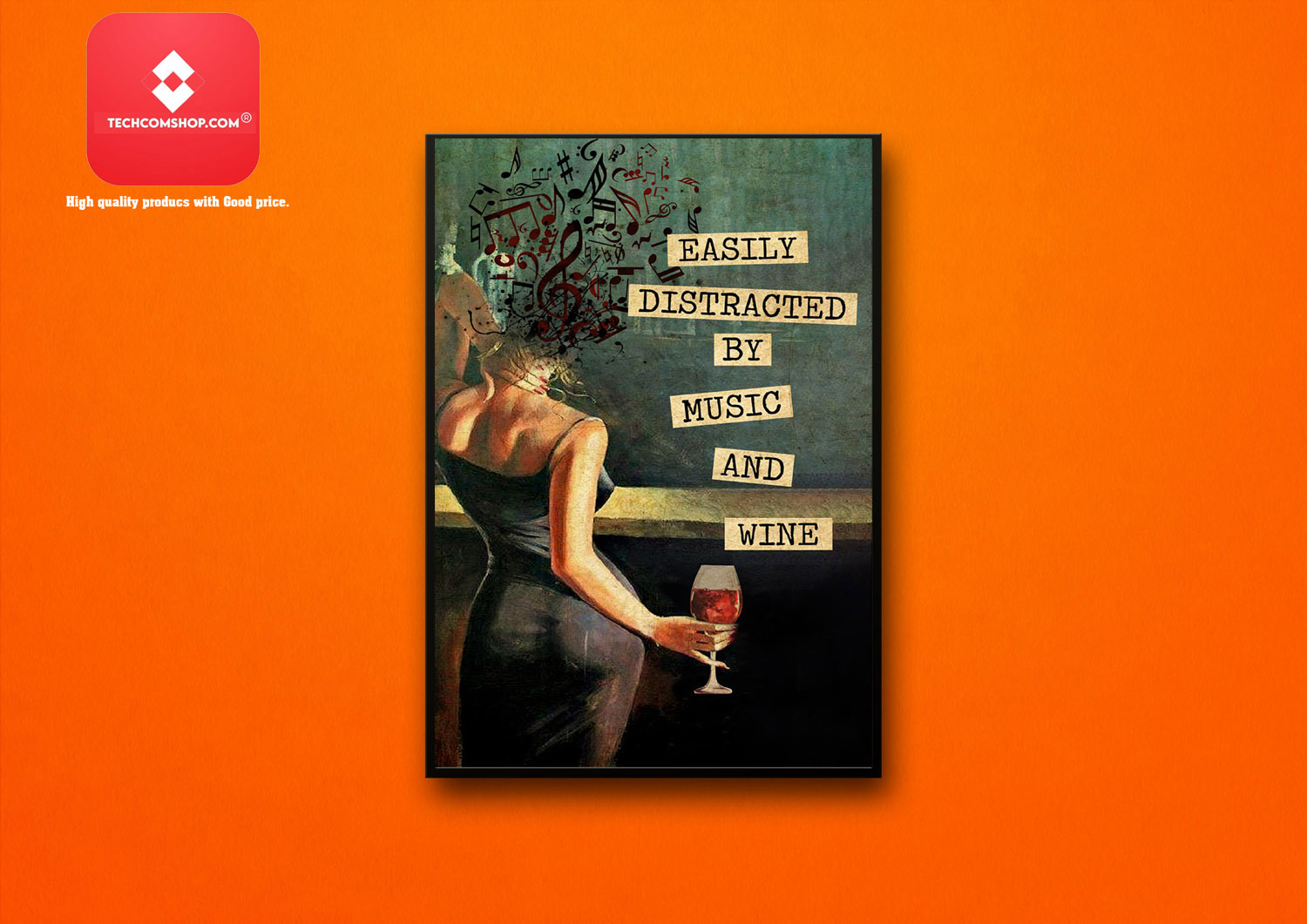 Girl vintage easily distracted by music and wine poster 8