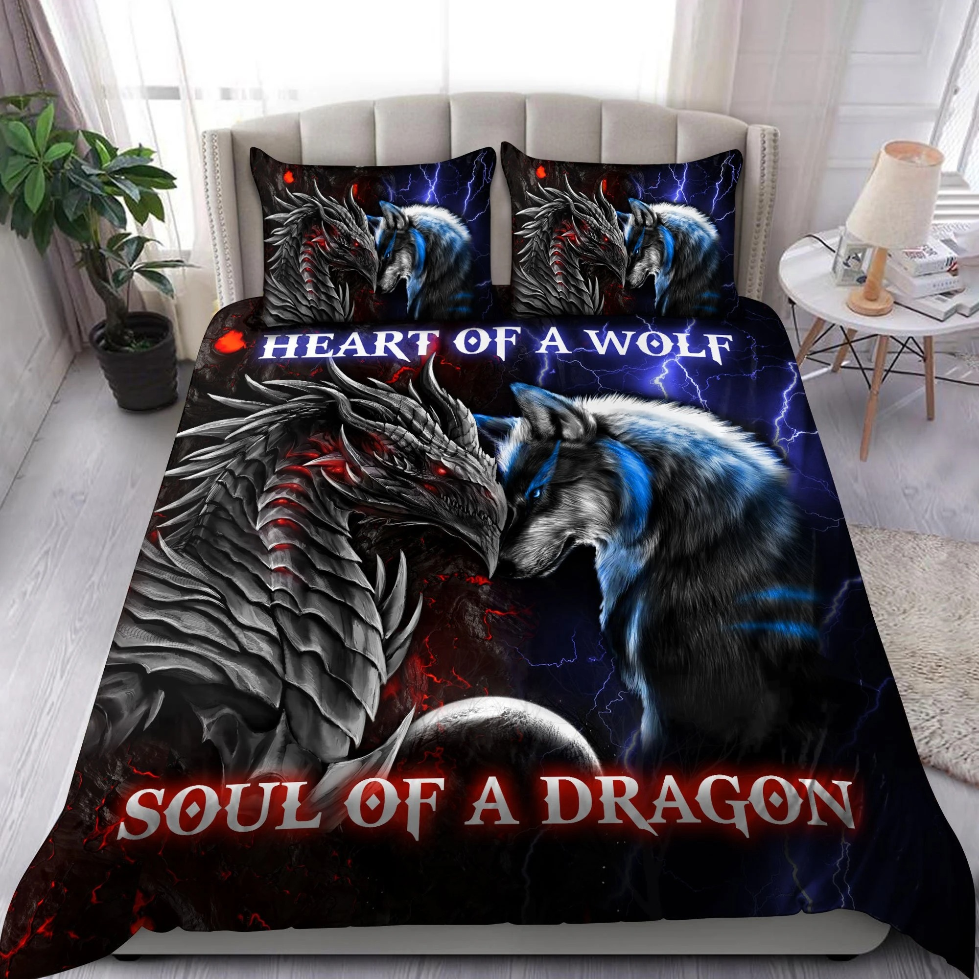 Heart of a wolf soul of a dragon bedding set 9