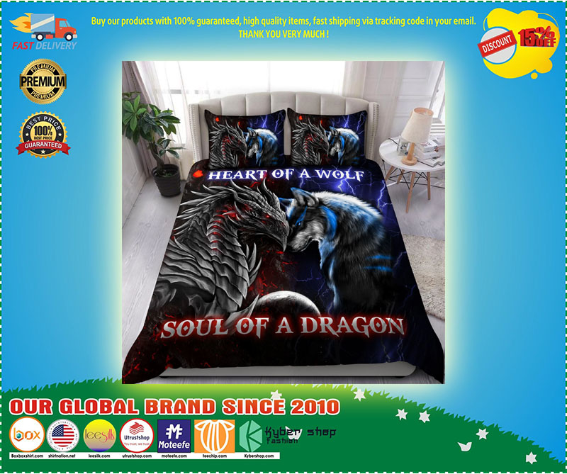 Heart of a wolf soul of a dragon bedding set 11