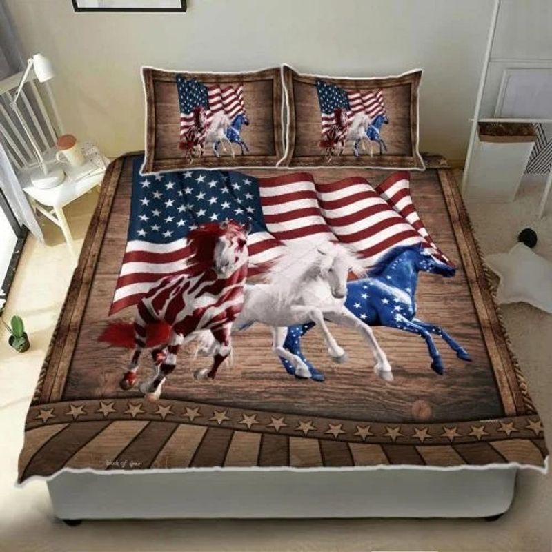 Horse running American bedding set 9