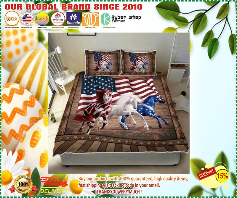 Horse running American bedding set 11