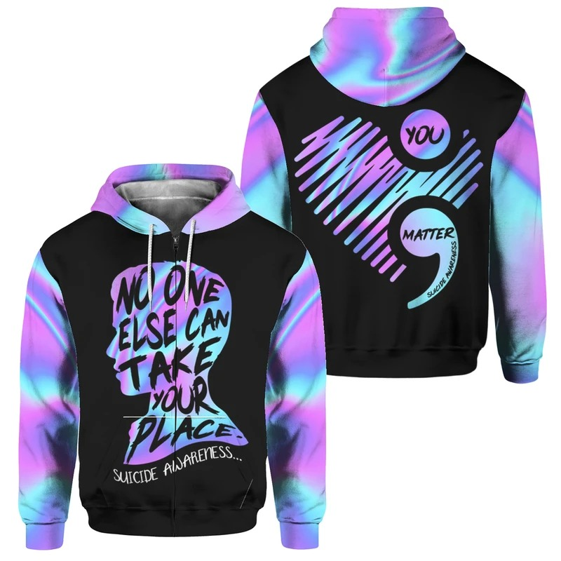 No one else can take your place suicide awareness 3D hoodie 9