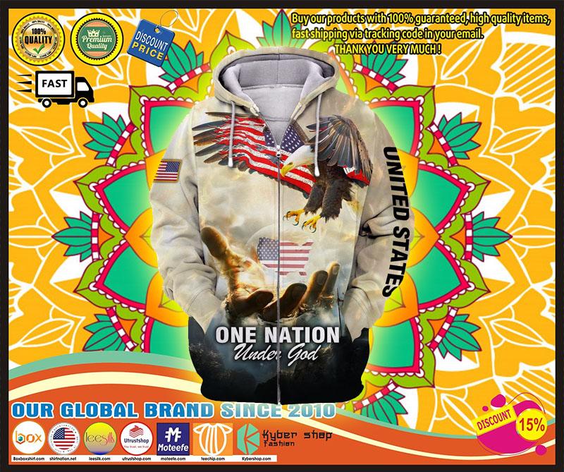 One nation eagle under god 3D over print hoodie 10