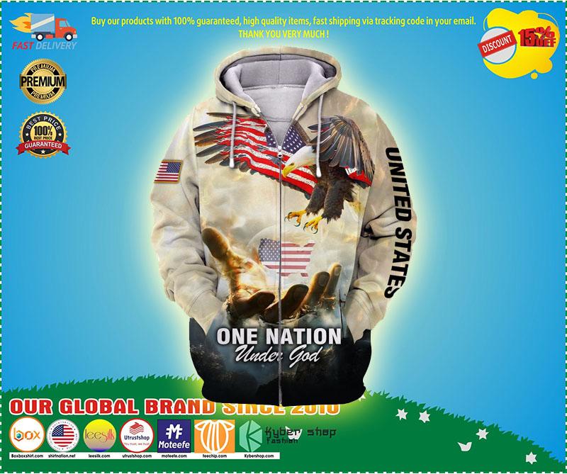 One nation eagle under god 3D over print hoodie 11
