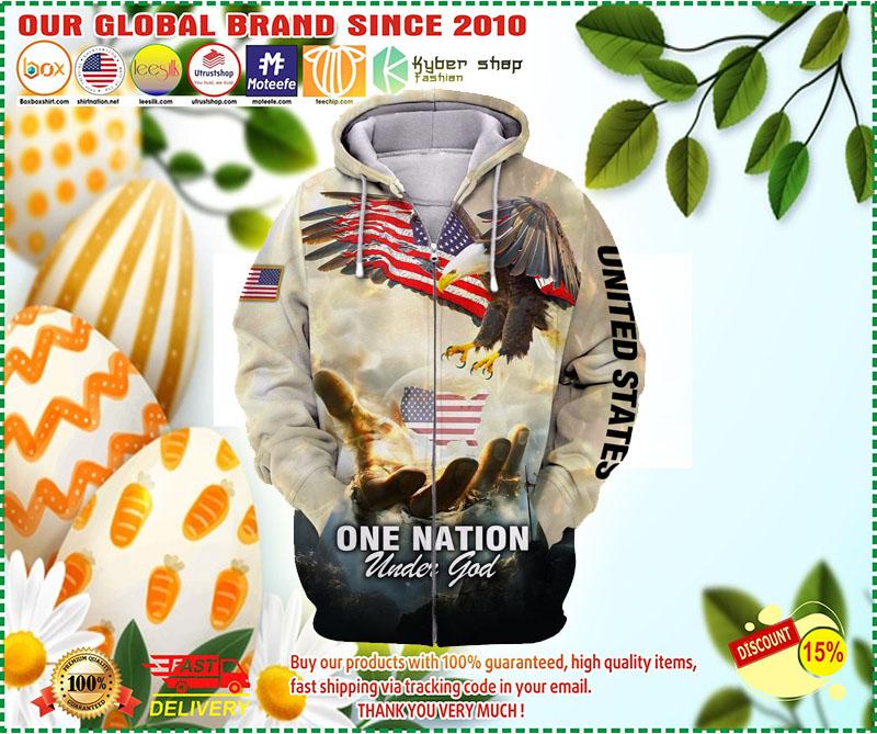 One nation eagle under god 3D over print hoodie 9