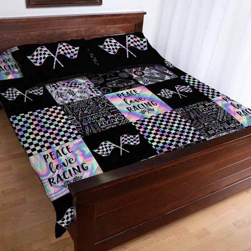 Peace love racing bedding set 9