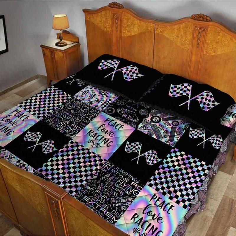 Peace love racing bedding set 10