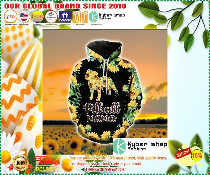 Pitbull mama sunflower 3d hoodie and legging 10
