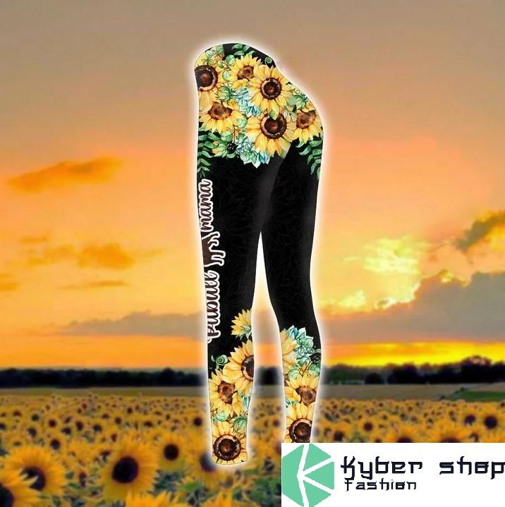 Pitbull mama sunflower 3d hoodie and legging 9
