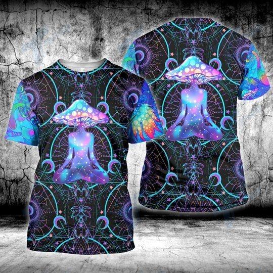Psychedelic yoga magic mushroom 3D hoodie 1