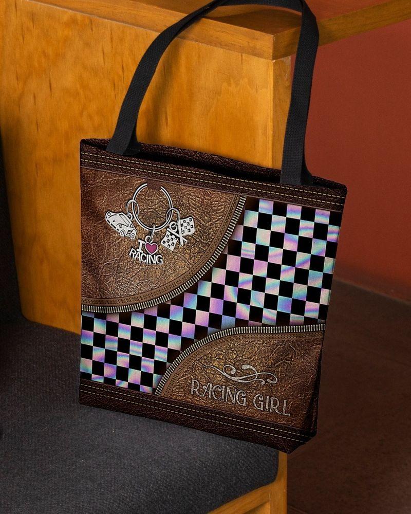 Racing girl leather tote bag 9