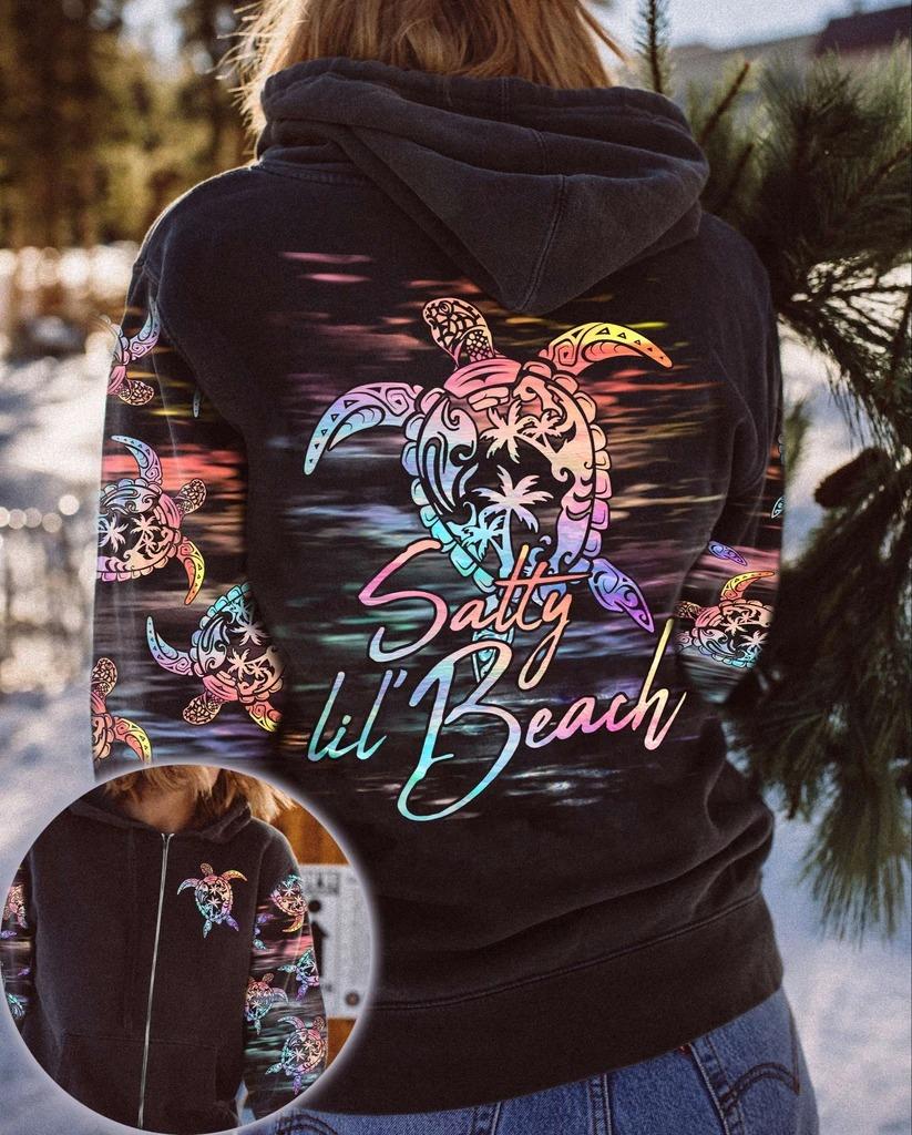 Satty lil beach turtle 3D over print hoodie 11