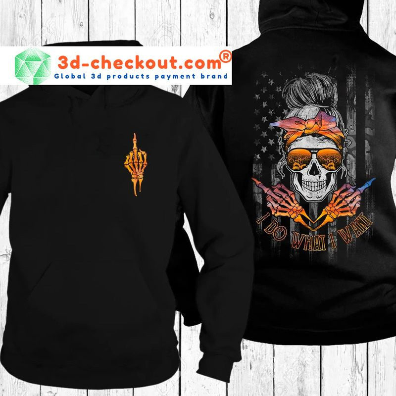 Skull I do what I want sunset beach 3D hoodie 9
