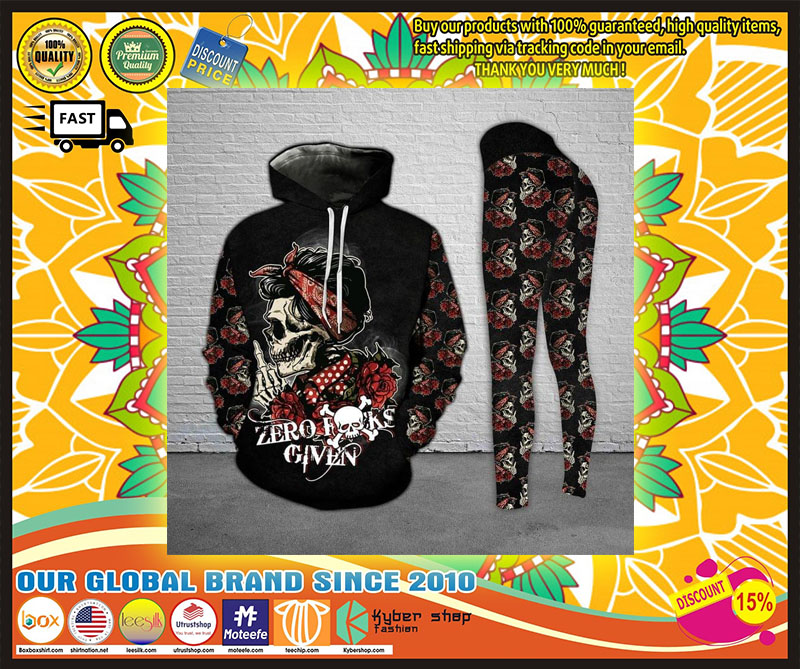 Skull and Rose zero fucks given 3D hoodie and legging 9