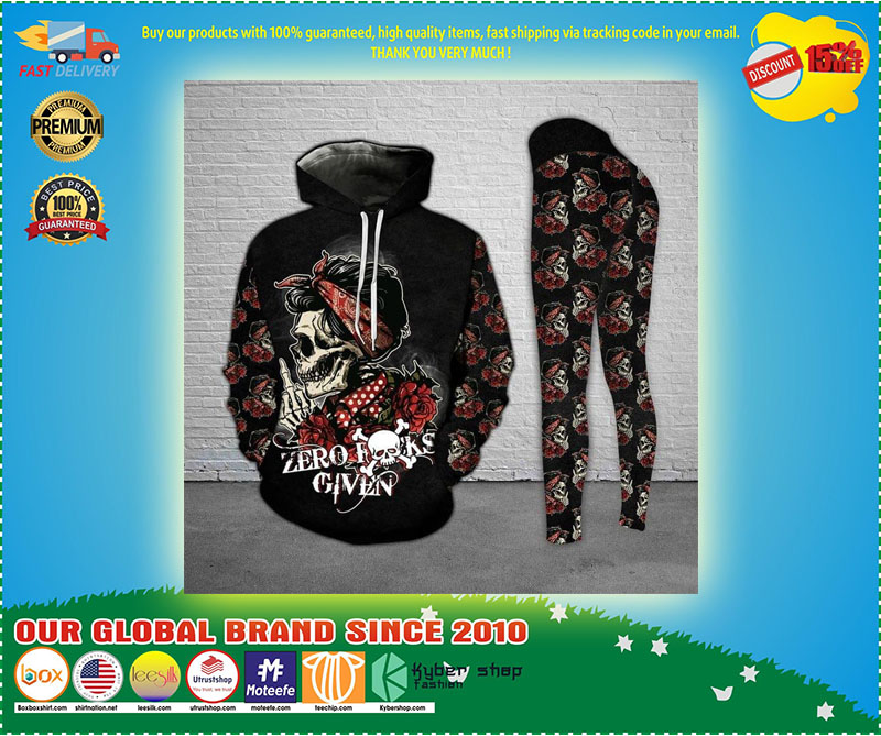 Skull and Rose zero fucks given 3D hoodie and legging 11