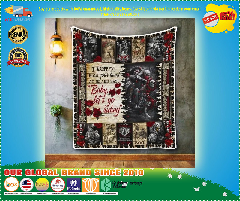 Skull biker I want to hold your hand blanket 9