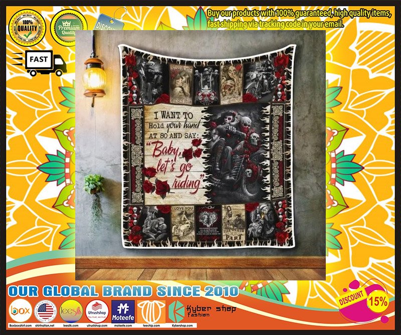 Skull biker I want to hold your hand blanket 11