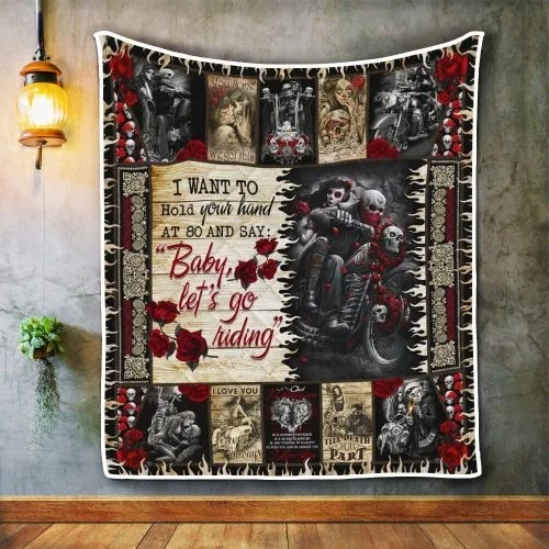 Skull biker I want to hold your hand blanket 1