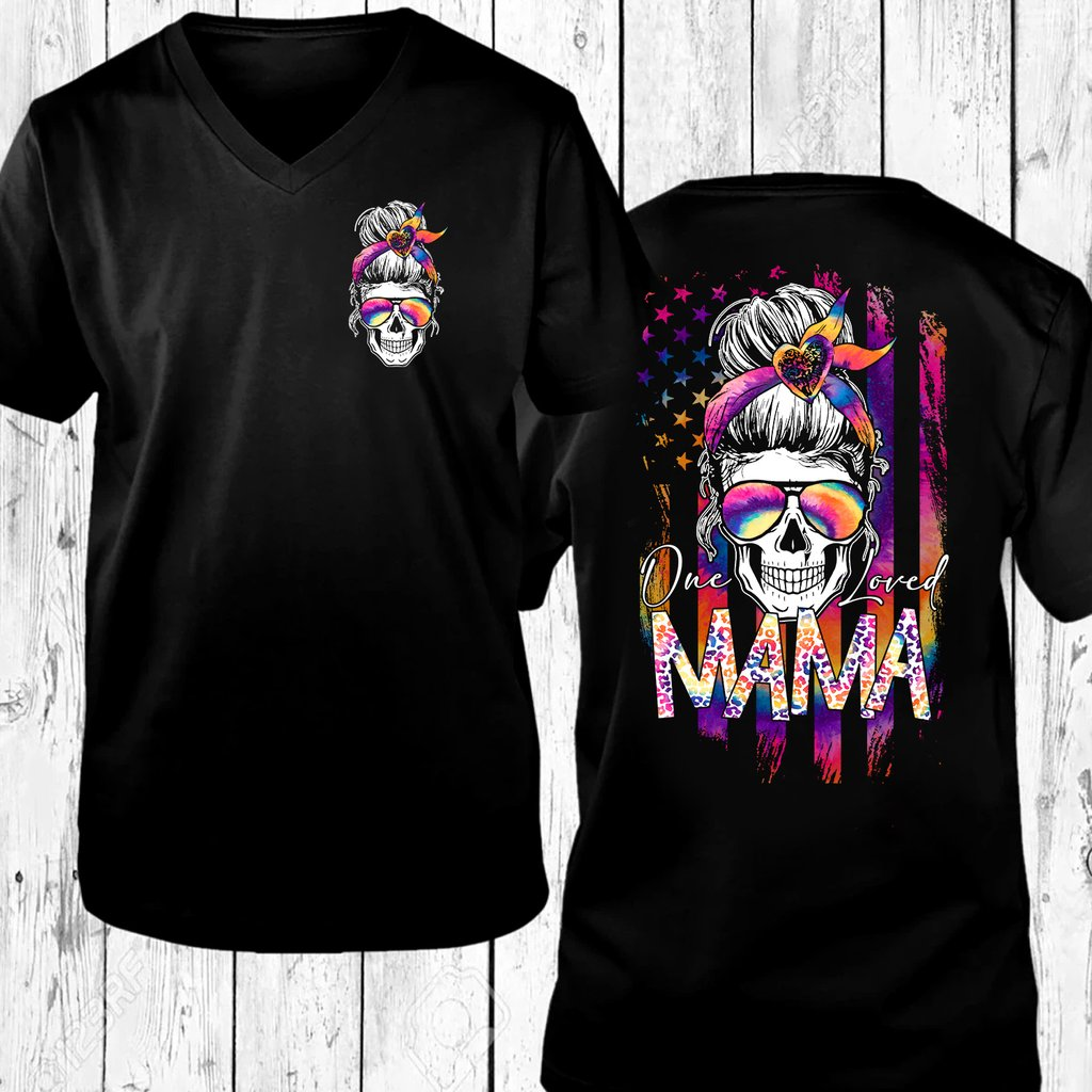 Skull colorful one loved mama 3d hoodie 9