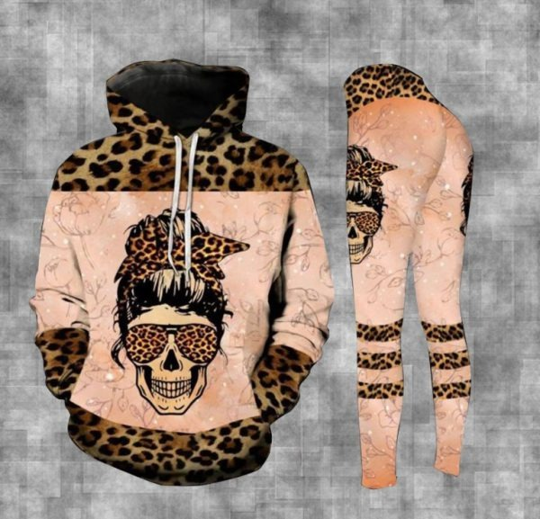 Skull leopard bad moms club 3D hoodie and legging