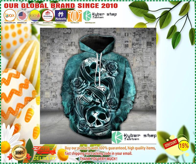 Skull trio turquoise 3D hoodie and legging 7