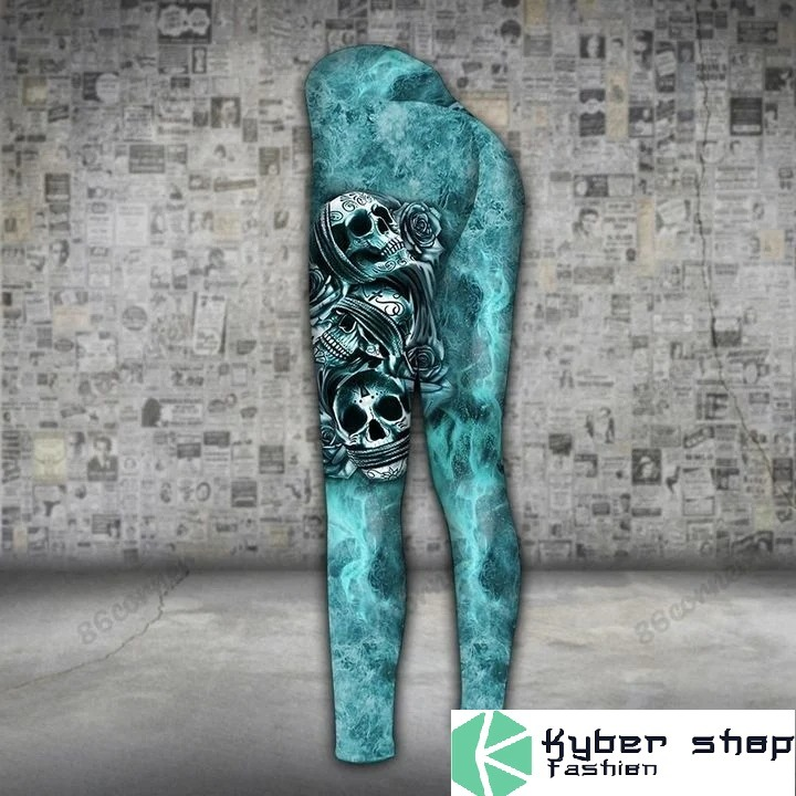 Skull trio turquoise 3D hoodie and legging