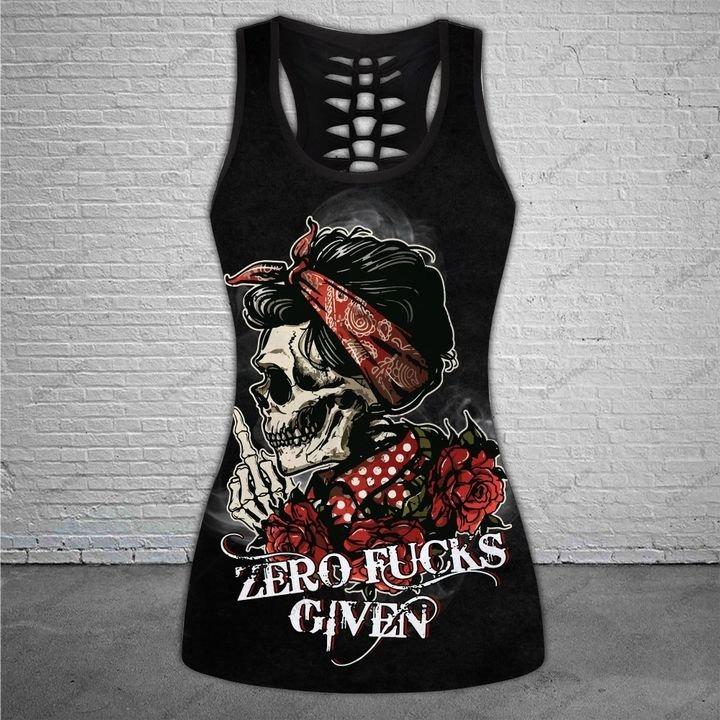 Skull zero fucks given 3D hoodie and legging 10