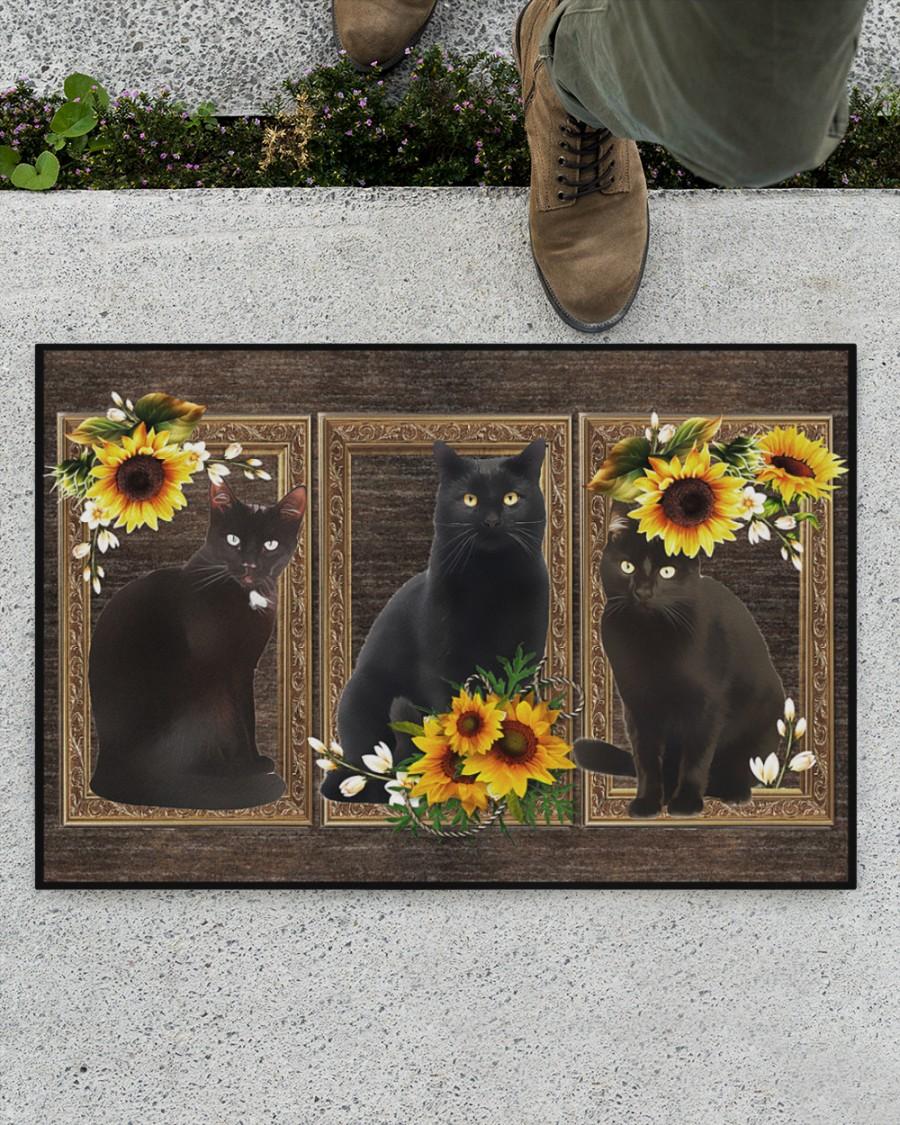 Sunflower black cat doormat 9