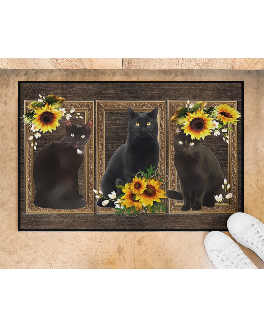 Sunflower black cat doormat 10
