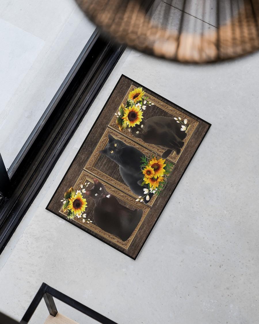 Sunflower black cat doormat 11