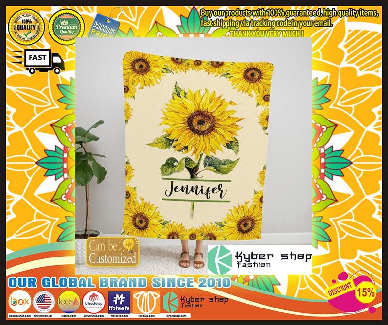Sunflower custom personalized name blanket 9