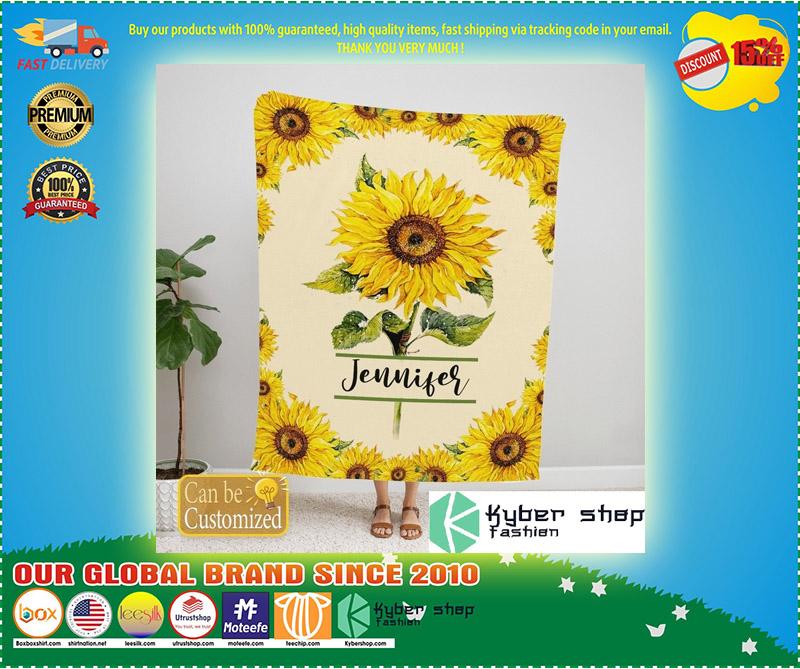 Sunflower custom personalized name blanket 11