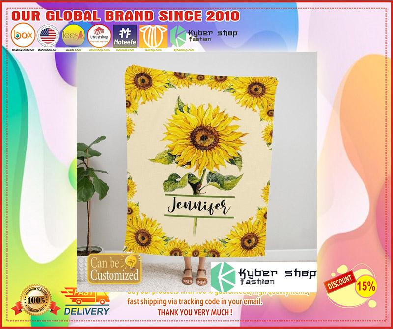 Sunflower custom personalized name blanket 10