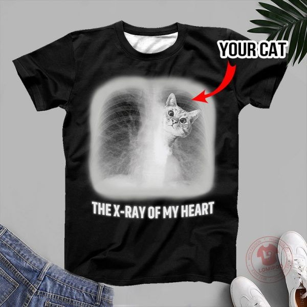 The x-ray of my heart personalized cat 3D hoodie 4