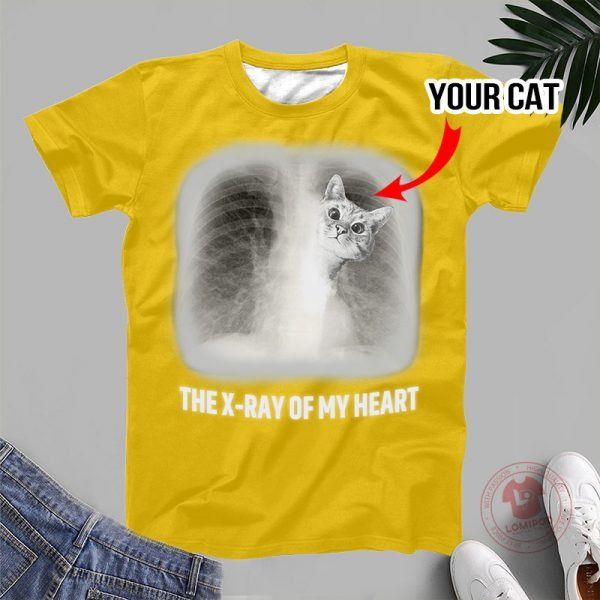 The x-ray of my heart personalized cat 3D hoodie 3