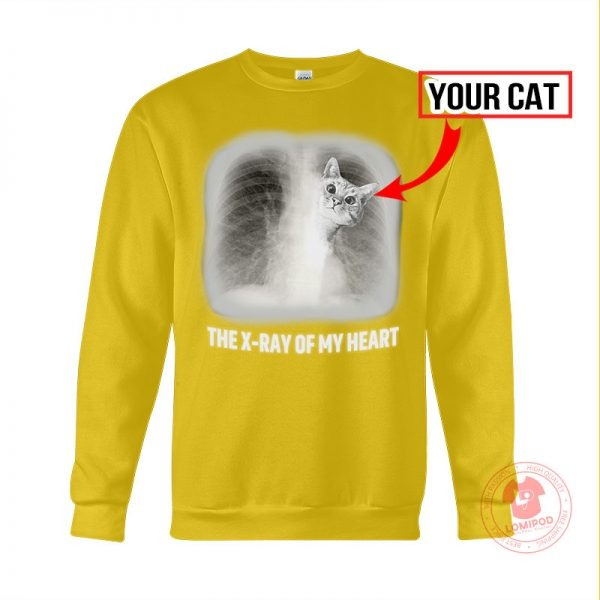 The x-ray of my heart personalized cat 3D hoodie 2