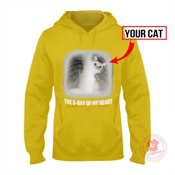 The x-ray of my heart personalized cat 3D hoodie 1