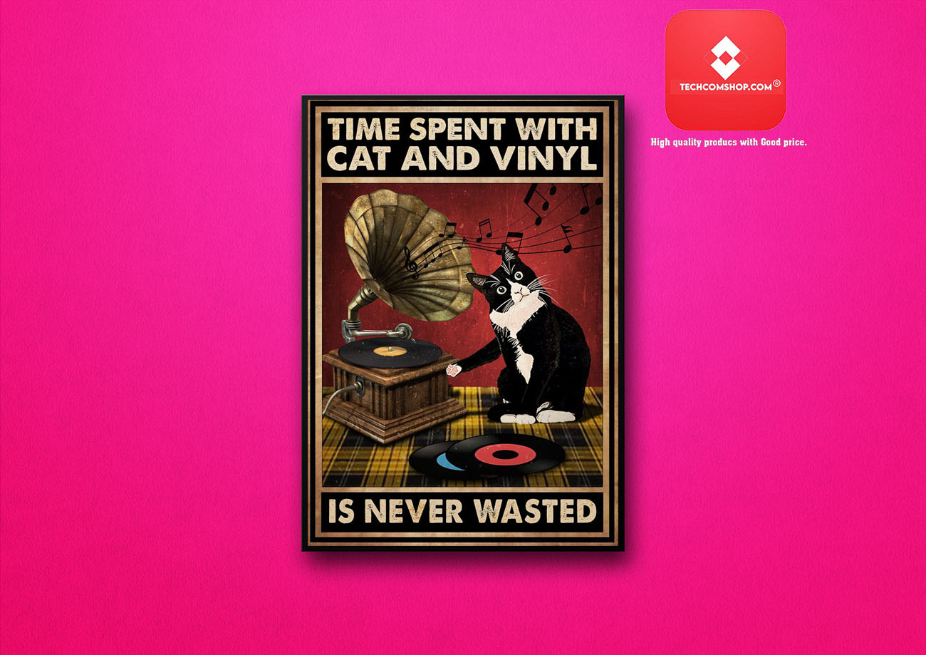 Time spent with cat and vinyl is never wasted poster 7