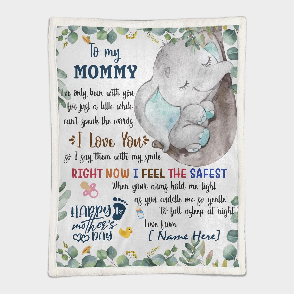 To my mom elephant custom name blanket 9