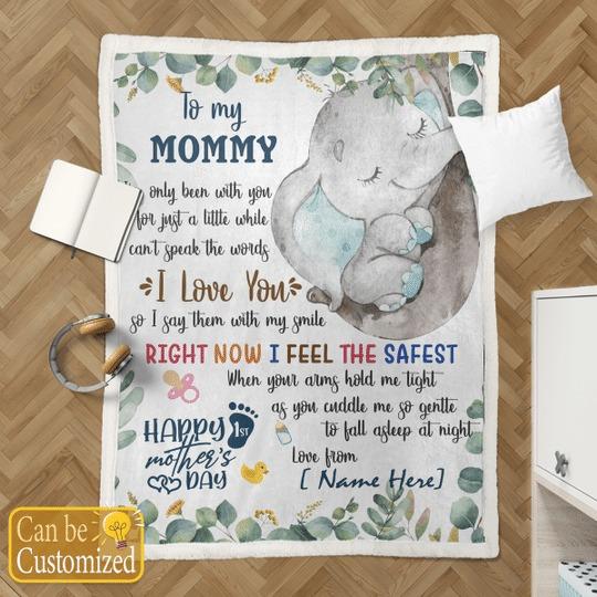 To my mom elephant custom name blanket