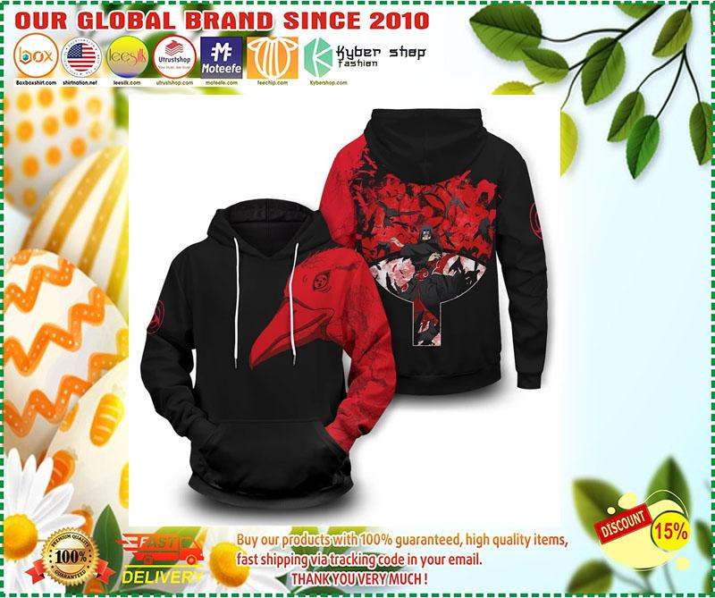 Uchiha Itachi crow 3D over print hoodie 9