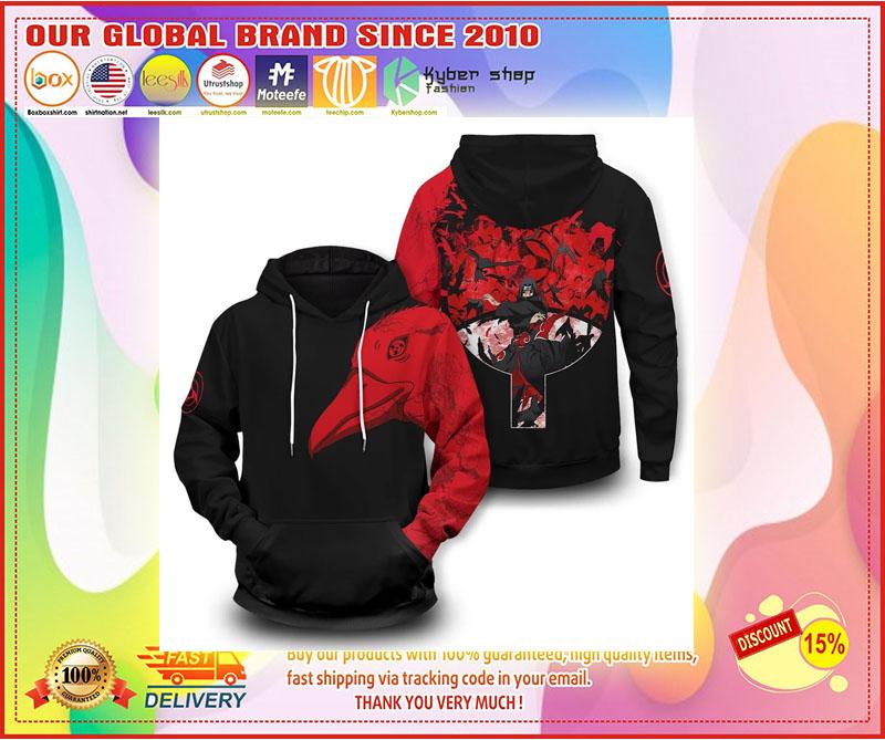 Uchiha Itachi crow 3D over print hoodie 8