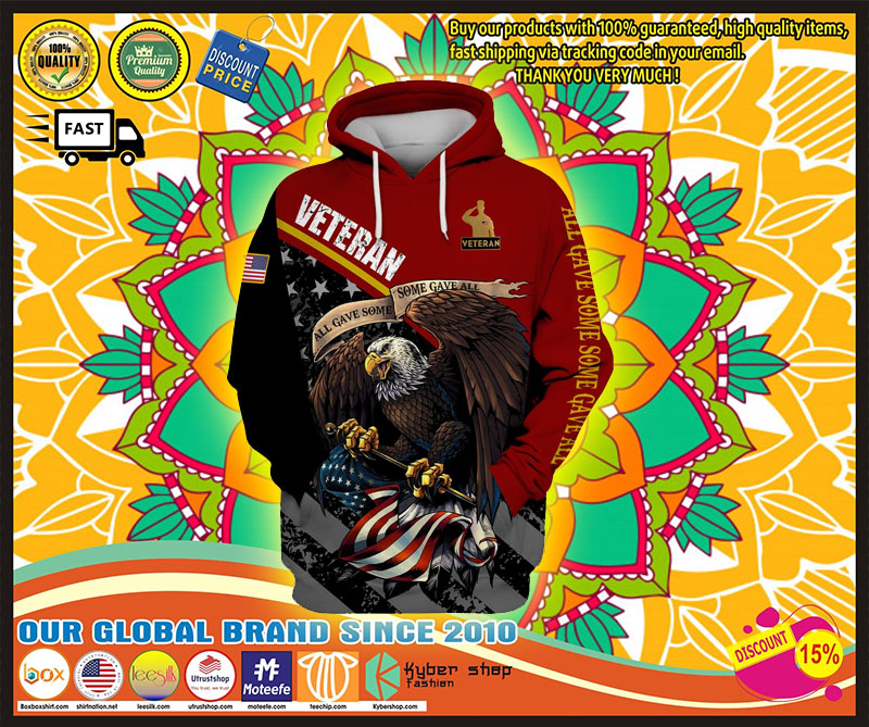 Veteran eagle American flag all game some gave all 3D hoodie 10