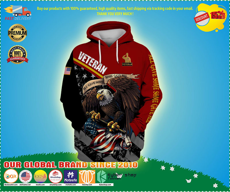 Veteran eagle American flag all game some gave all 3D hoodie 11