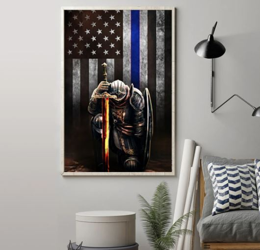 Warrior knight american blue line flag canvas 2