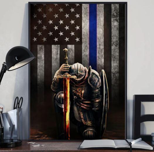 Warrior knight american blue line flag canvas 1