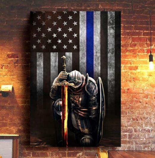 Warrior knight american blue line flag canvas