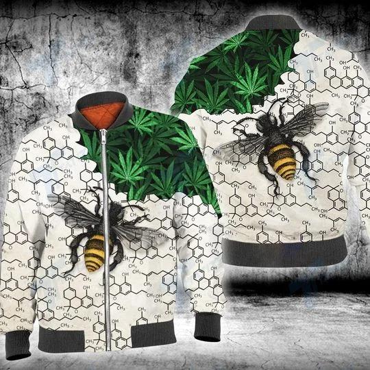 Weed bee happy dictionary 3D hoodie 2