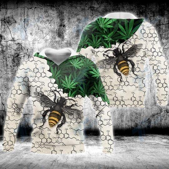Weed bee happy dictionary 3D hoodie
